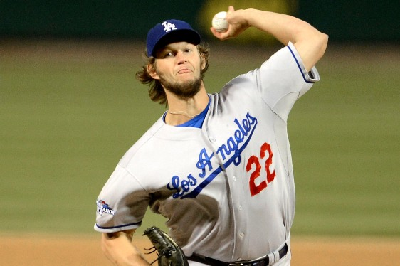 Los Angeles Dodgers starting pitcher Clayton Kershaw throws during the first inning of Game 6 of the National League baseball championship series against the St. Louis Cardinals, Friday, Oct. 18, 2013, in St. Louis. (AP Photo/David Klutho, Pool)