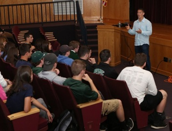Adam Greenberg Speaking to Nipmuc Highschool Credit Terry Moore