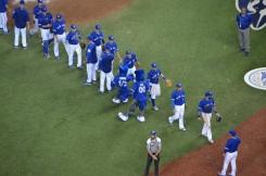 Les joueurs de Toronto célèbrent leur victoire