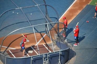 Des joueurs des Nats au batting practice plusieurs heures avant le match.