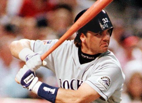 Larry Walker of the Colorado Rockies wears his bat